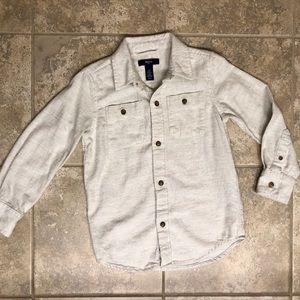 Gap Kids button down gray cream shirt, size XS